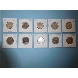 LOT OF 10 CANADIAN QUARTERS - 1967, 1968, 1969, 1970, 1971, 1972, 1974, 1975, 1977, 1978