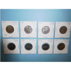 LOT OF 8 CANADIAN QUARTERS - 1968, 1969, 1970, 1973, 1975, 1977, 1978 x 2