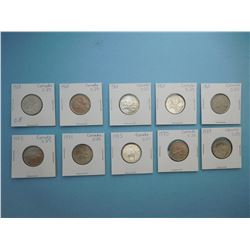 LOT OF 10 CANADIAN QUARTERS - 1968 x 5, 1973 x 3, 1975, 1977