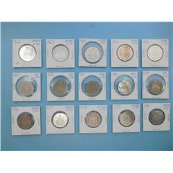LOT OF 15 CANADIAN FIFTY CENT PIECES - 1962, 1963, 1964, 1965 x 2, 1969, 1970, 1971, 1974 x 2, 1976,