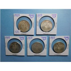 LOT OF 5 FIFTY CENT PIECES 1959