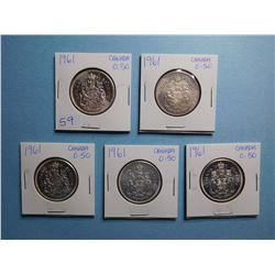 LOT OF 5 FIFTY CENT PIECES 1961