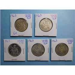 LOT OF 5 FIFTY CENT PIECES 1963