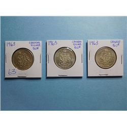 LOT OF 3 FIFTY CENT PIECES 1963