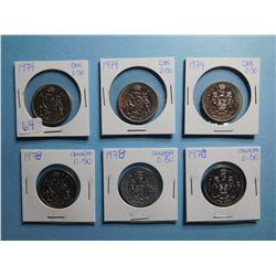 LOT OF 6 FIFTY CENT PIECES 1974 x 3, 1978 x 3