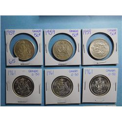 LOT OF 15 FIFTY CENT PIECES 1959 x 3, 1961 x 3, 1963 x 2, 1974, 1978 x 3, 1980 x 3