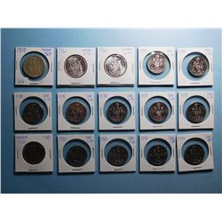 LOT OF 15 FIFTY CENT PIECES 1959, 1961 x 2, 1978 x 7, 1980 x 4