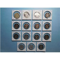 LOT OF 15 FIFTY CENT PIECES 1959, 1961 x 2, 1978 x 12