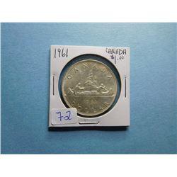 1961 CANADA SILVER DOLLAR COIN