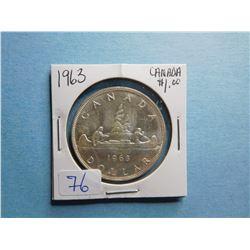 1963 CANADA SILVER DOLLAR COIN