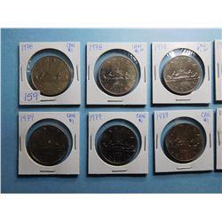 LOT OF 10 CANADA DOLLAR COINS 1978 x 4, 1979 x 4, 1980 x 2