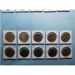 LOT OF 10 CANADA DOLLAR COINS 1979 x 5, 1980 x 5