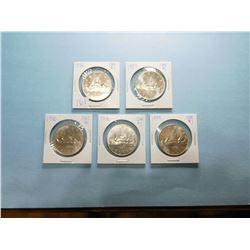 LOT OF 5 CANADA DOLLAR COINS 1978 x 1, 1979 x 2, 1980 x 2