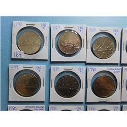 LOT OF 15 CANADA DOLLAR COINS 1979 x 7, 1980 x 8