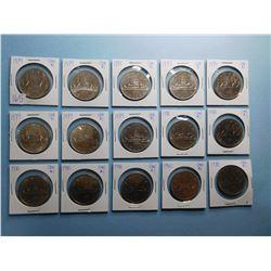 LOT OF 15 CANADA DOLLAR COINS 1979 x 8, 1980 x 7