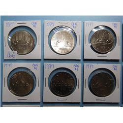 LOT OF 15 CANADA DOLLAR COINS 1979 x 10, 1980 x 5