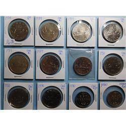 LOT OF 15 CANADA DOLLAR COINS 1977 X 1, 1978 X 1, 1979 X 6, 1980 X 7