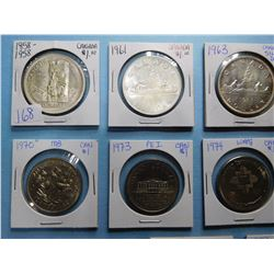 LOT OF 14 CANADA DOLLAR COINS 1958, 1961, 1963, 1964, 1965, 1970, 1973, 1974, 1975, 1976, 1977, 1978