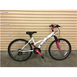 WHITE AND PINK AVIGO KID'S FRONT SUSPENSION MOUNTAIN BIKE