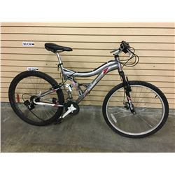 GREY KRANKED JS2010 FULL SUSPENSION MOUNTAIN BIKE WITH FRONT DISK BRAKE, MISSING DISK