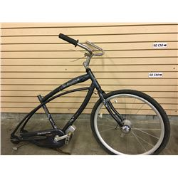 BLUE SCHWINN CRUISER BIKE, MISSING REAR WHEEL