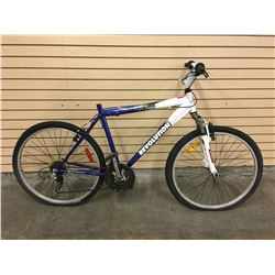 BLUE AND WHITE REVOLUTION GETAWAY FRONT SUSPENSION MOUNTAIN BIKE