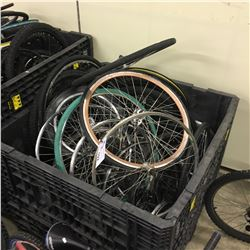 LOT OF ASSORTED BIKE WHEELS AND RIMS, BIN NOT INCLUDED
