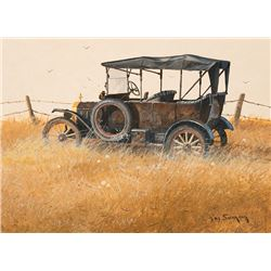Swanson, Ray - Collection of 3 Paintings - Old Truck In Field, Old Truck In Field with Barb Wire Fre