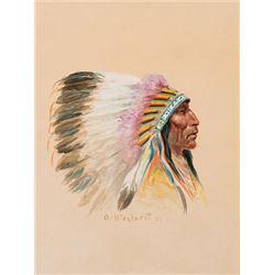 Wieghorst, Olaf - Blackfoot Chief In War Bonnet