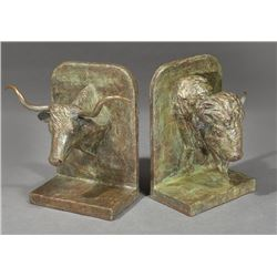 Beeler, Joe - Bookends - Steer and Buffalo Heads