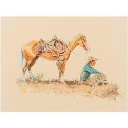 Wieghorst, Olaf - Cowboy Sitting in front of Horse