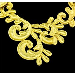 Hand Painted Necklace - Gold Plated