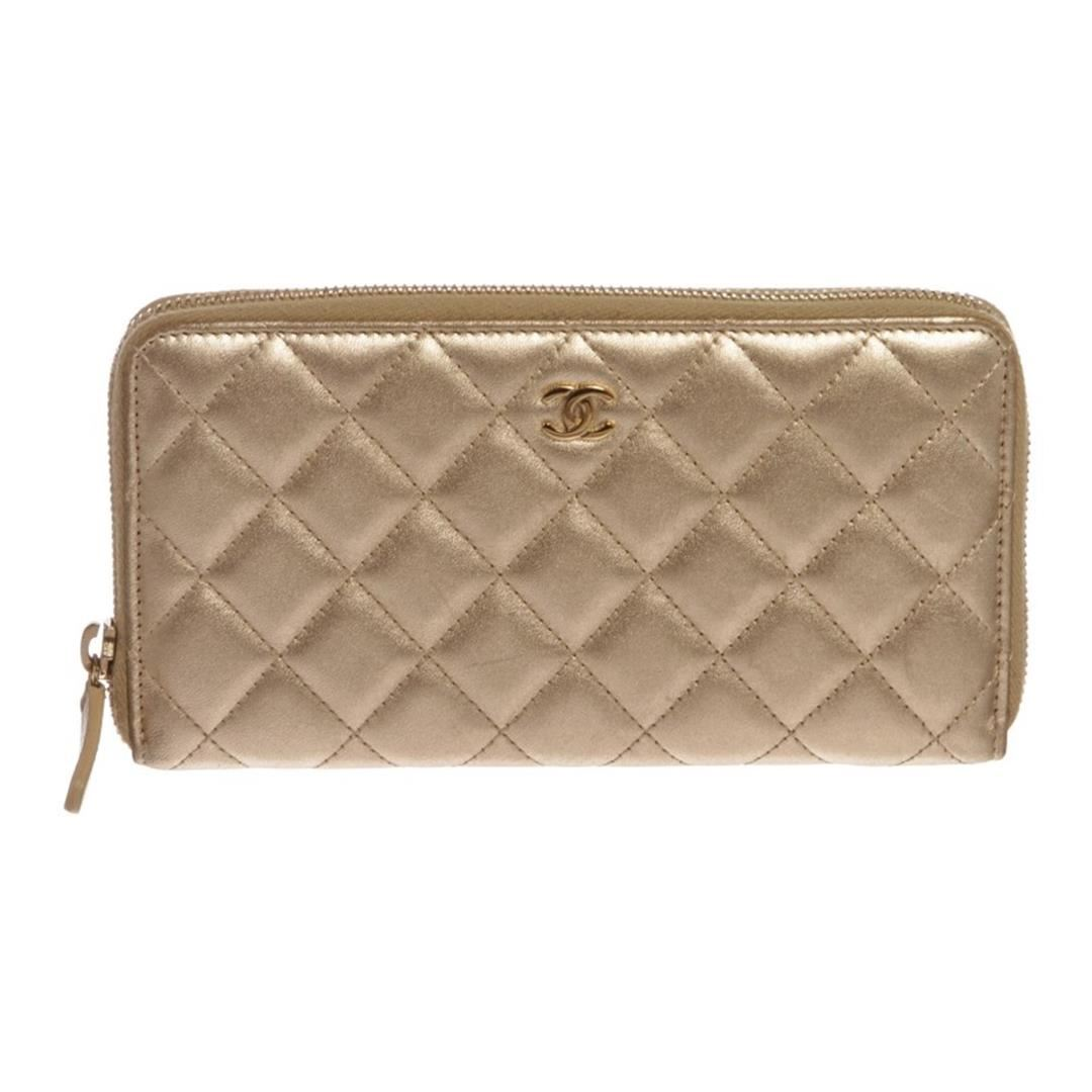 48c22b0ad5a0 Image 1 : Chanel Gold Lambskin Leather Quilted Long Zippy Wallet ...