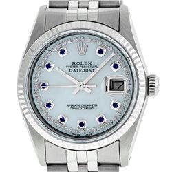 Rolex Mens 36mm Stainless Steel MOP Sapphire String Diamond Datejust Wristwatch