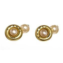 Chanel Gold Faux Pearl Cufflinks