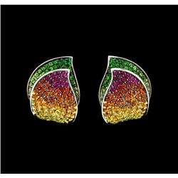 4.00 ctw Multi-color Sapphire Earrings - 18KT White Gold