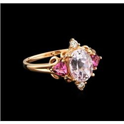 2.40 ctw Kunzite, Tourmaline and Diamond Ring - 14KT Rose Gold