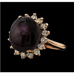 13.80 ctw Star Ruby and Diamond Ring - 14KT Rose