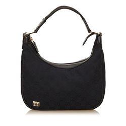 Gucci Black Canvas Jacquard Leather Trim Shoulder Bag
