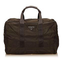 Prada Brown Nylon Leather Double Handle Zipper Duffle Bag