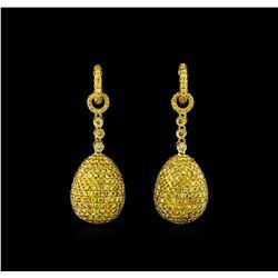 8.24 ctw Fancy Green-Yellow Diamond Earrings - 18KT Yellow Gold