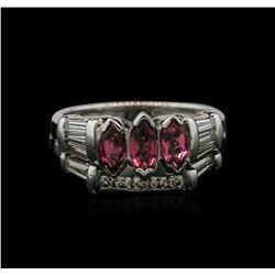 1.00 ctw Pink Tourmaline and Diamond Ring - 14KT White Gold
