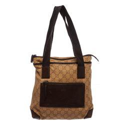 Gucci Brown Monogram Canvas Leather Trim Tote Handbag