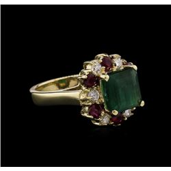 2.94 ctw Emerald, Ruby and Diamond Ring - 14KT Yellow Gold