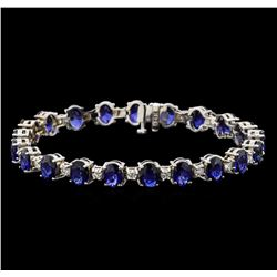 14KT White Gold 15.12 ctw Sapphire and Diamond Bracelet
