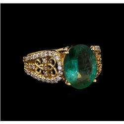 14KT Yellow Gold 2.47 ctw Emerald and Diamond Ring