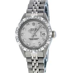 Rolex Ladies SS Silver Diamond Pyramid Bezel Datejust Wristwatch