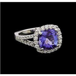3.65 ctw Tanzanite and Diamond Ring - 14KT White Gold