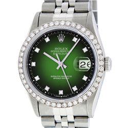 Rolex Stainless Steel Green Vignette Diamond DateJust Men's Watch