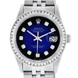 Rolex Mens Stainless Steel Blue Vignette Princess Cut Diamond Datejust Wristwatc